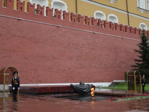 The Tomb of the Unknown Soldier and the eternal flame outside the Kremlin walls