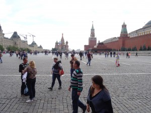 Red Square with (from left to right(, GUM department store, St Basil's Basilica, the Kremlin Walls and Lenin's Tomb