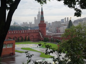 Part of the center of Moscow from inside the Kremlin walls