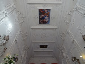 The ceiling of the entrance hall and staircase