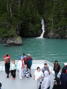 Beautiful family and beautiful waterfall